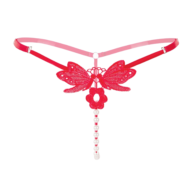 Antoinette Roja, Pearl Butterfly Panty Set (x3) Ruby Red