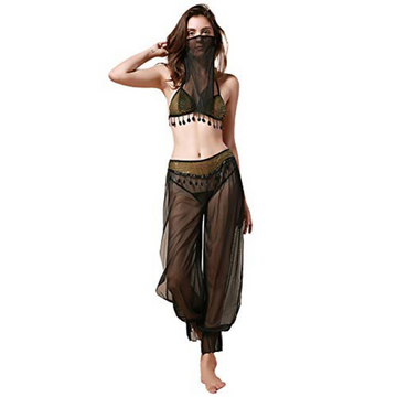 The Concubine, Sheer Black Matching Belly Dancer Set