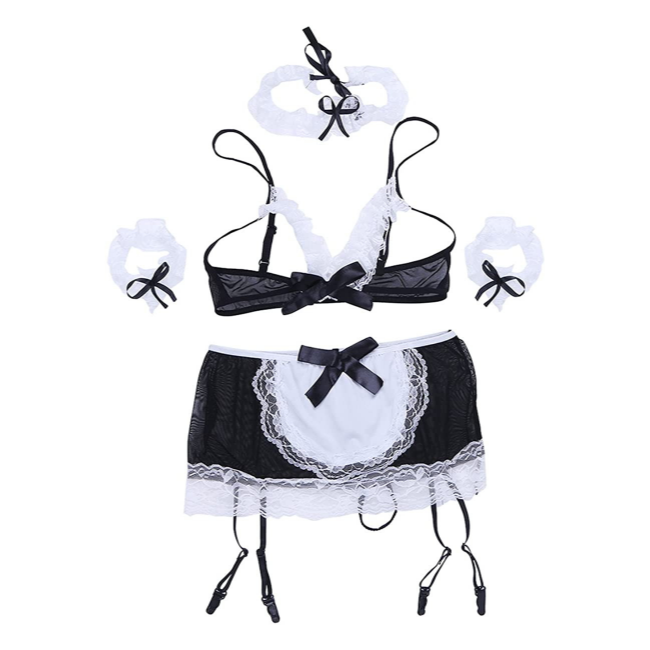 The Frenchie, Open Bust Transparent French Maid Style Matching Set