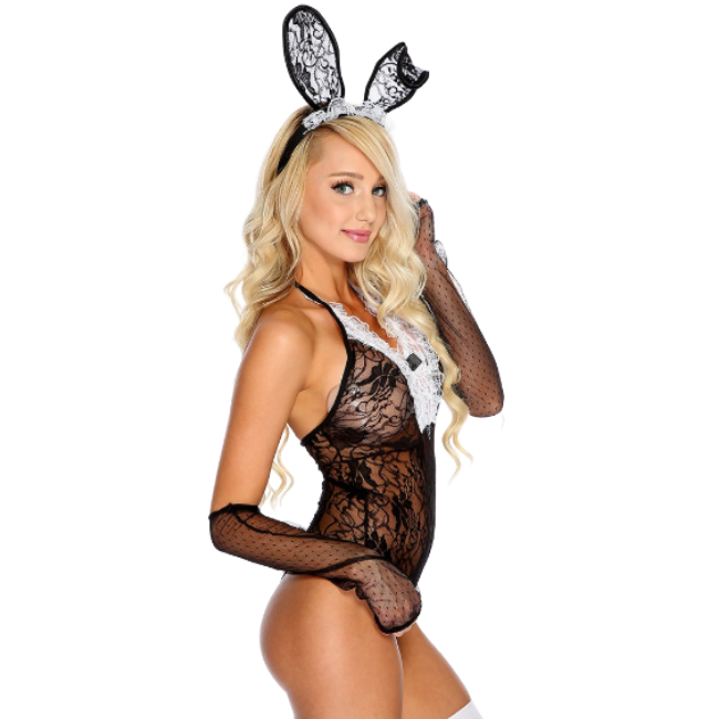 She-Woolf Hosiery, Lacey Racey Rabbit, Black Lace Bunny Style Matching Bodysuit Set