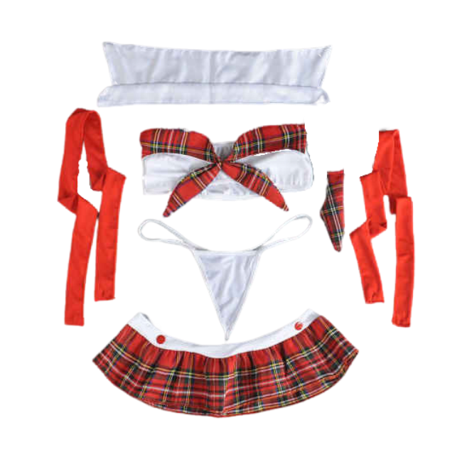 The Pretty Pupil, Matching School Girl Themed One Piece with Detachable Suspenders