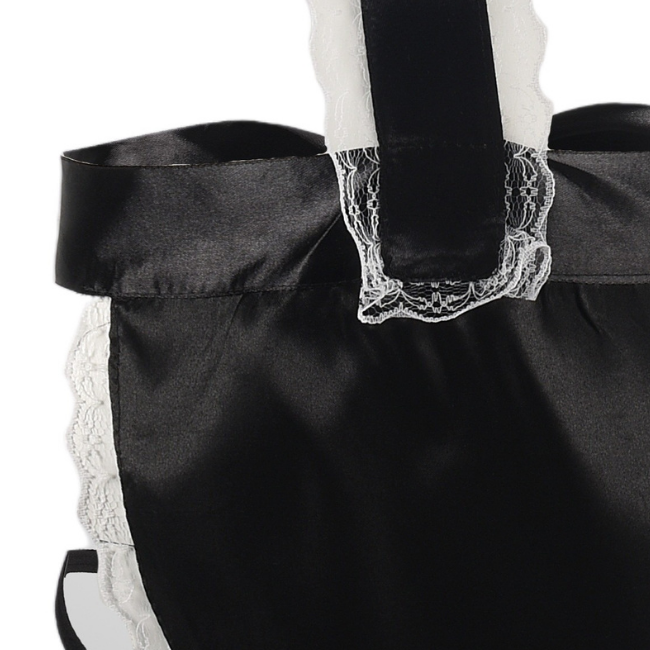 Take Care, Caretaker! French Maid Satin Apron Open Bust Set