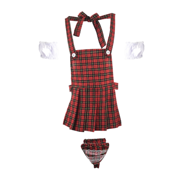 Beerfest! Red Tartan Apron Matching Outfit