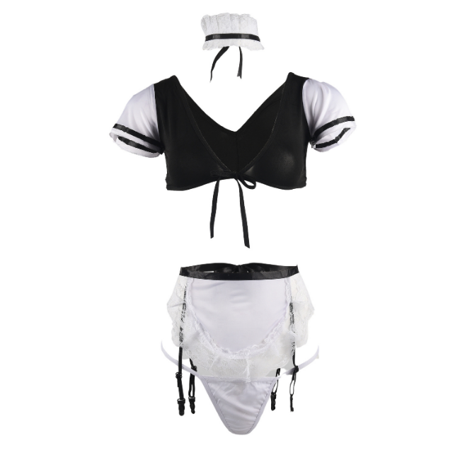 Sultry Servant, Satin Two Piece French Maid Set