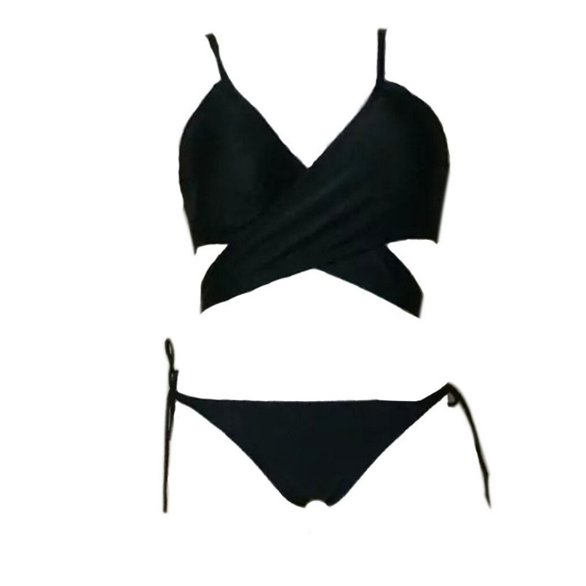 Amazon Kingfisher Black Wrap Bikini Top and Matching Side Tie Bottom