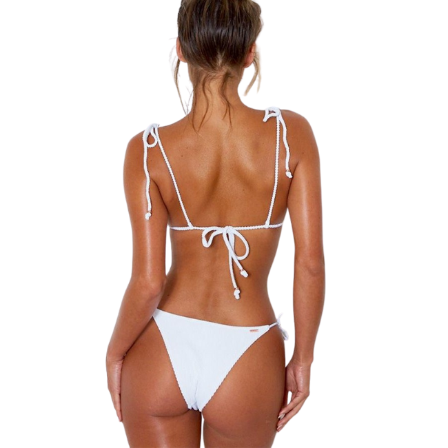 Sunbird Swimwear, Regal Macaw, Reflection White Tie Strap Triangle Matching Bikini