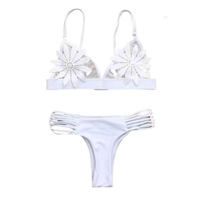 Sunbird Swimwear, Crested Ocean Petrel Reflection White Invisible Bikini Set