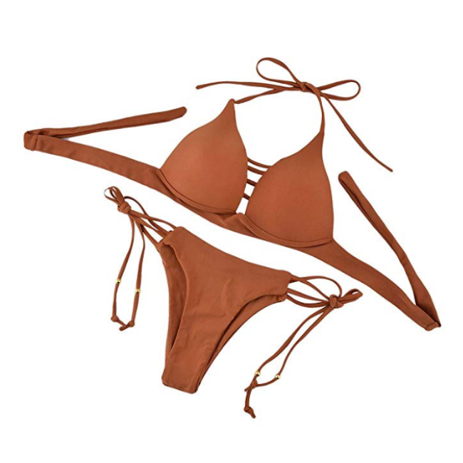 Leisure-time Peacock Beach Sand Side Tie Bust Strap Matching Bikini