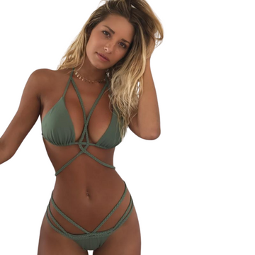 Secluded Bellbird Olive Green Bodycage Strappy Insta-kini Matching Set