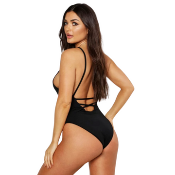 Sunbird Swimwear, Waterside Wader, Black Tie Back Rouched-Bottom Full Piece