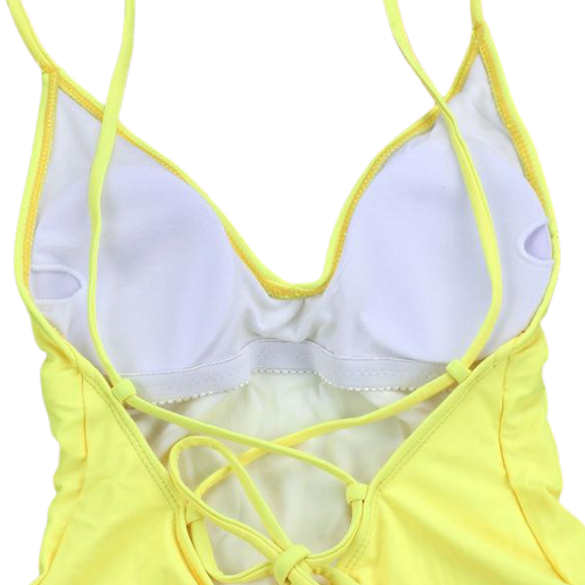 Sunbird Swimwear, Waterside Wader, Canary Yellow Tie Back Rouched-Bottom Full Piece