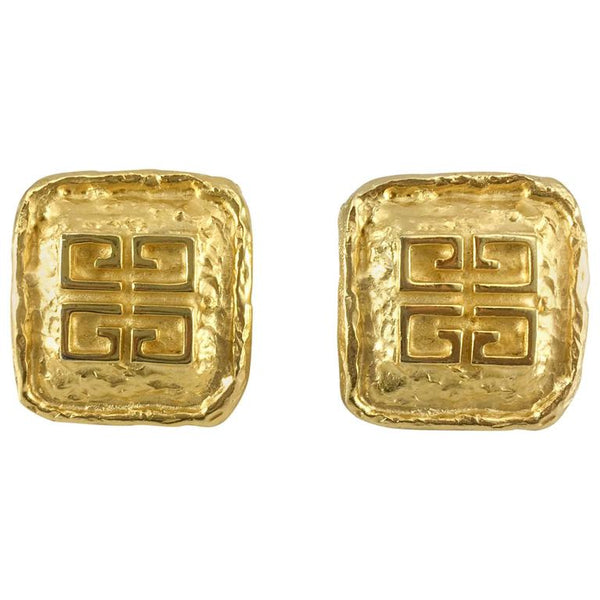 Givenchy Gold-Plated Logo Earrings - 1980s