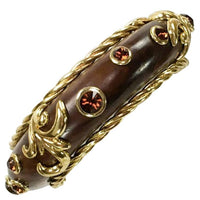 Dominique Aurientis Rhinestone, Gilt Metal and Polished Wood Bangle - 1980s