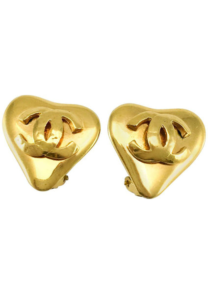 Chanel Gold-Plated Heart-Shaped Logo Earrings - 1993