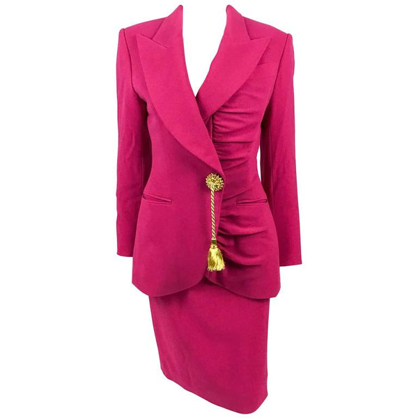 Dior Numbered Demi-Couture Hot Pink Wool Crepe Suit With Golden Tassel - 1980s