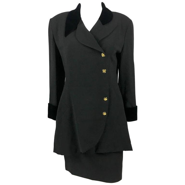 Chanel Black Wool Skirt Suit With Velvet Collar and Cuffs - 1990's