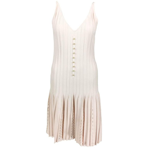 Chanel Pale Pink Ribbed Summer Dress With Pearl Buttons - 2012