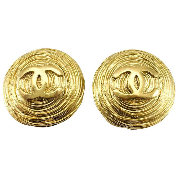 Chanel Large Gold-Plated Texturised Round Logo Earrings - 1988