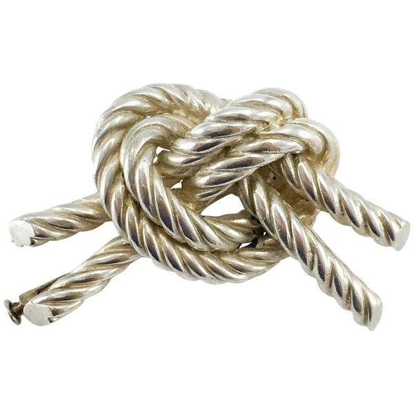 Hermes Twisted Knot Silver Brooch - 1950's