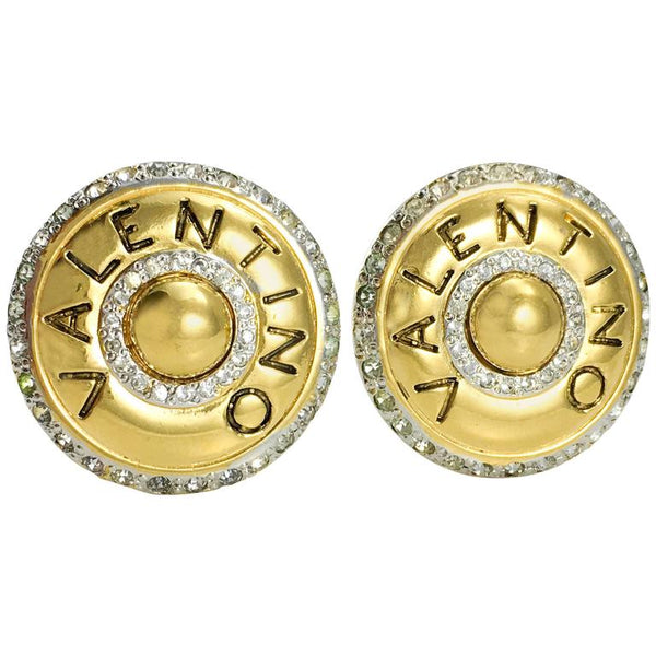 Valentino Rhinestone Embellished Round Gilt Earrings - 1980's