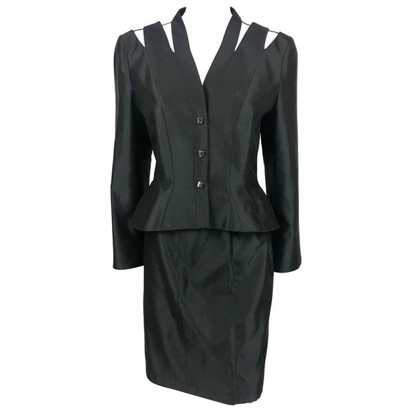 Thierry Mugler Black Silk Skirt Suit With Slashed Shoulders Detail - 1990's