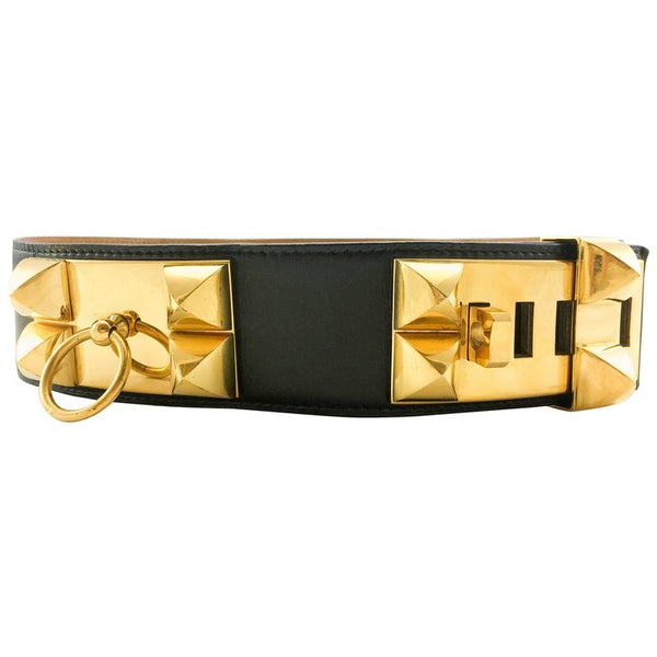 Hermes Collier De Chien Black Leather and Gold-Plated Hardware Belt - 1986
