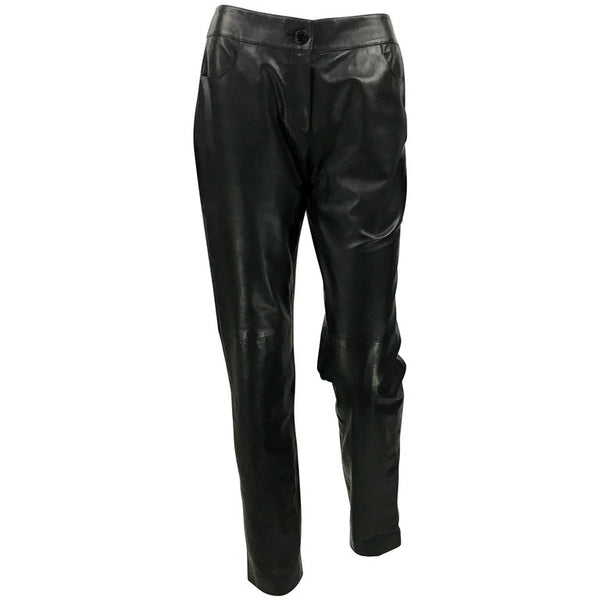 Chanel Black Calfskin Leather Trousers - 2003