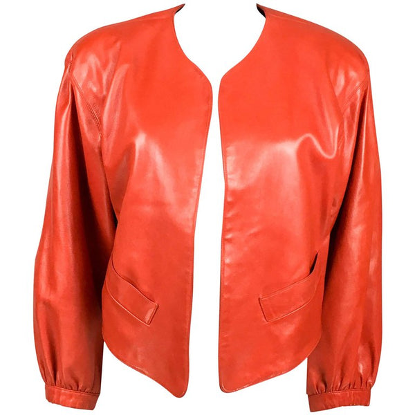 Yves Saint Laurent Red Soft Leather Jacket - 1980's