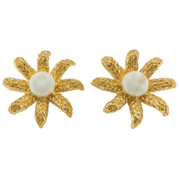 Chanel Faux Pearl Gold-Plated Flower Earrings - 1994