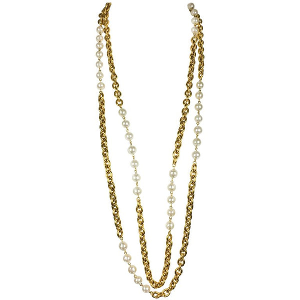 Chanel Runway Look Double-Strand Gilt Chain and Pearl Sautoir Necklace - 1984