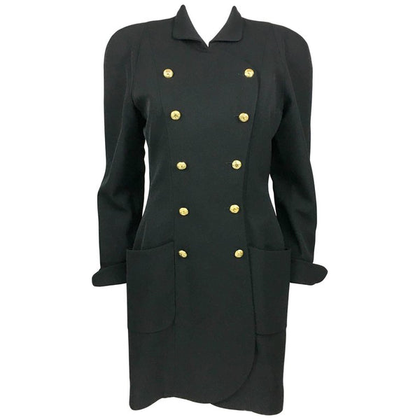 Chanel Black Wool Dress / Coat With Gilt Logo Buttons - 1990's