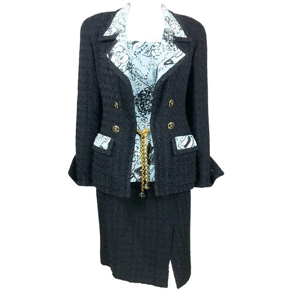 Chanel Black Boucle and Novelty-Print Silk 3-Piece Ensemble - 1993