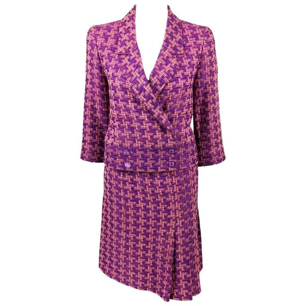 Chanel Pink and Purple Wool Bouclé Skirt Suit - 2001