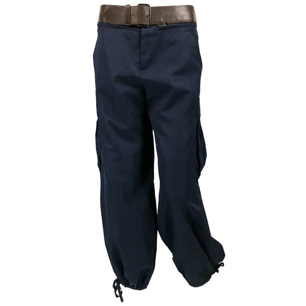 Jean Paul Gaultier Navy Blue Nylon Cargo Pants With Detachable Belt - 1990's