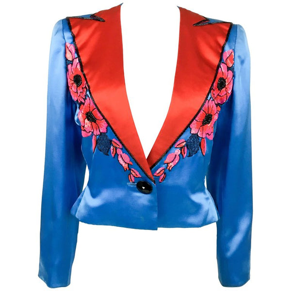 Dior by Marc Bohan Haute Couture Silk Satin Beaded Jacket - 1983