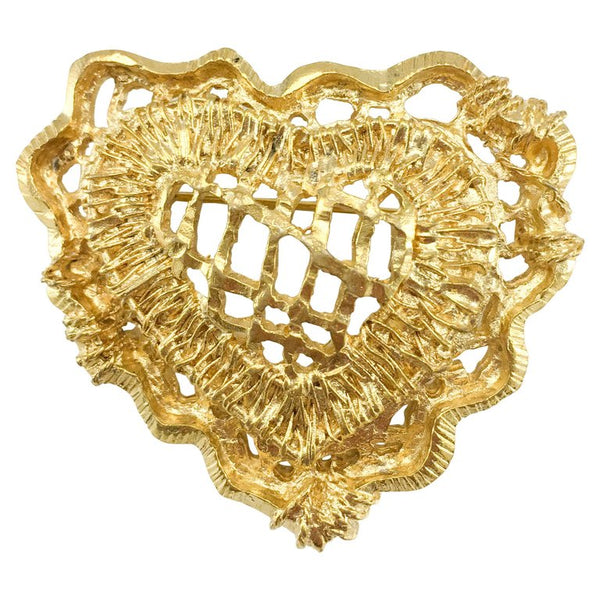 Lacroix Gold-Plated Stylised Heart Brooch - 1990's