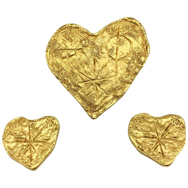 Lacroix Gold-Plated Earrings and Brooch Modernist Heart Set, by Goossens - 1994
