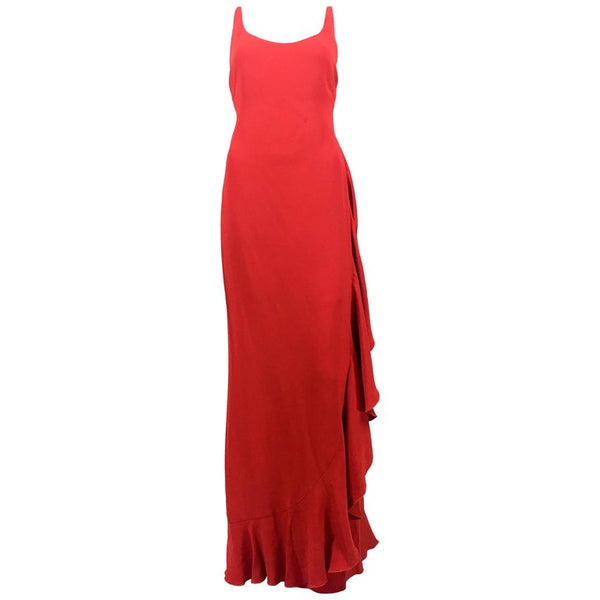 Valentino Flamenco-Inspired Red Silk Evening Gown - 1980's