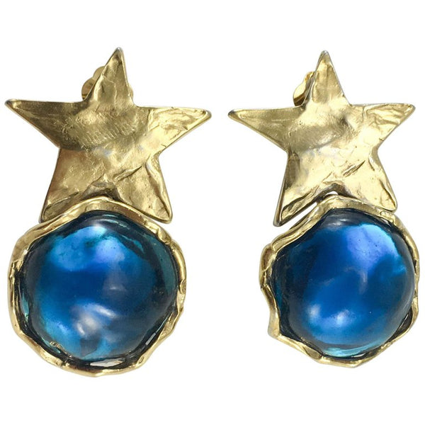 Yves Saint Laurent Blue Resin and Gold-Plated Star Earrings - 1980's