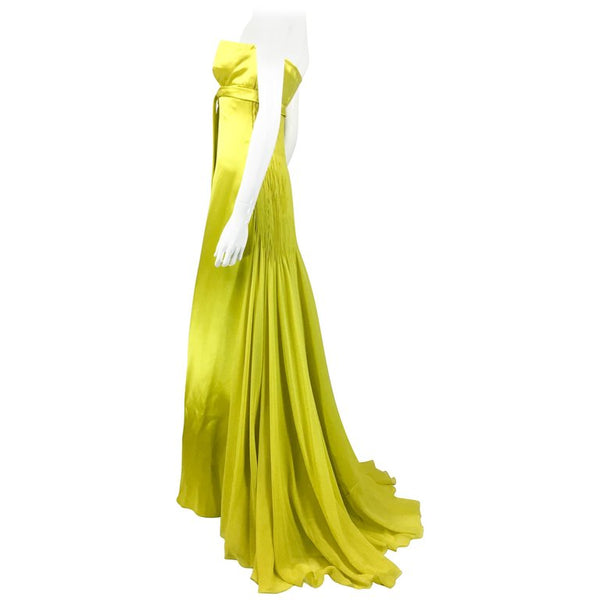 Valentino Chartreuse Silk Evening Gown - 1990's