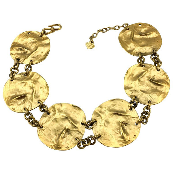 Yves Saint Laurent Gold-Plated Disk Necklace, by Robert Goossens - 1989