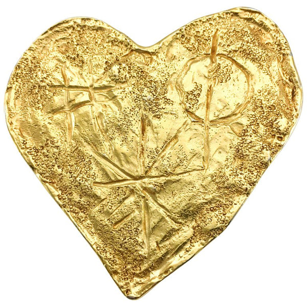 Lacroix Gold-Plated Modernist Heart Brooch, by Goossens - 1994