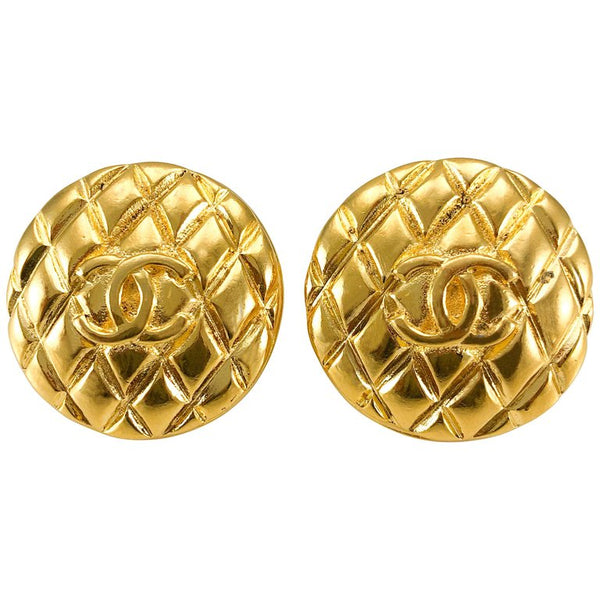 Chanel Gold-Plated Quilted Logo Earrings - 1988