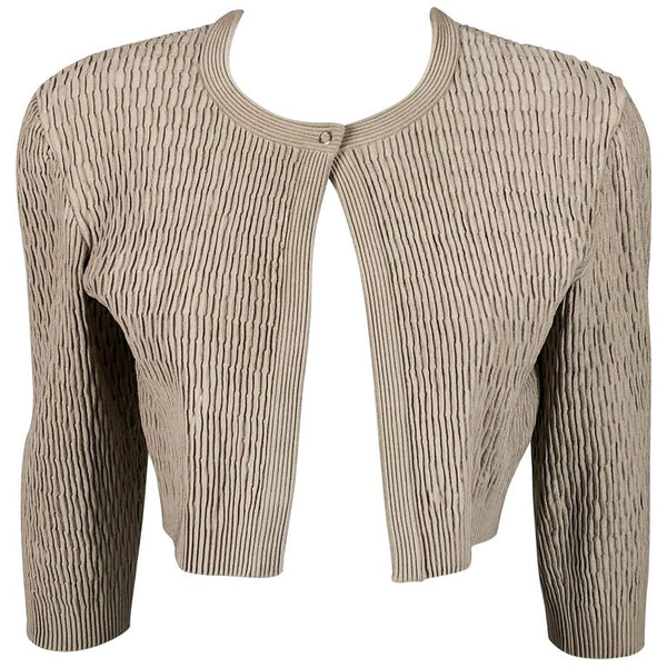 Azzedine Alaia Taupe Stretch Cropped Jacket - 2000's