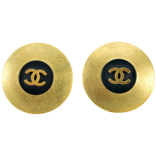 Chanel Brushed Gold-Tone and Black Logo Earrings - 1994