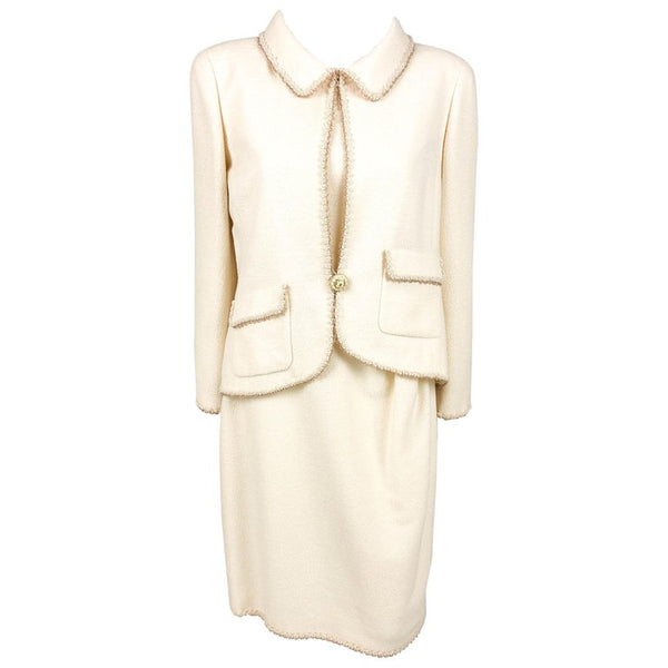 Chanel Unworn Runway Cream Jacket and Dress Ensemble with Gold Thread Trim - 2010