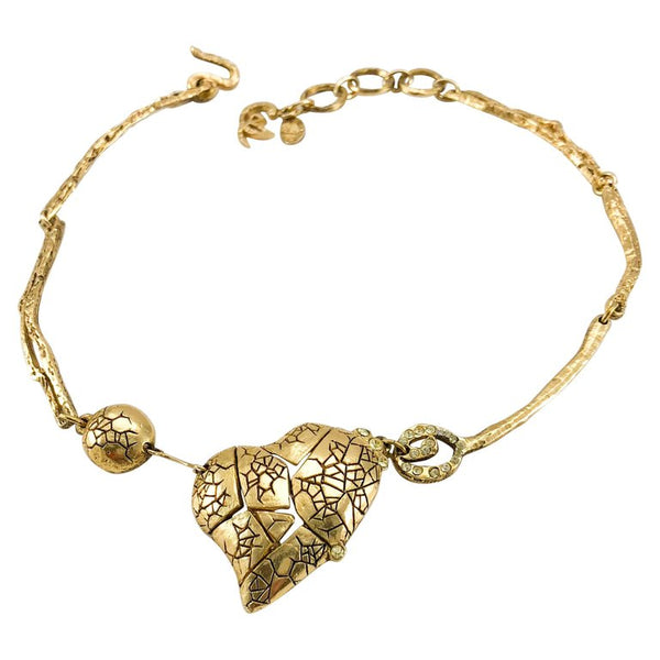 Lacroix Gold-Plated 'Broken Heart' Necklace - 1990's