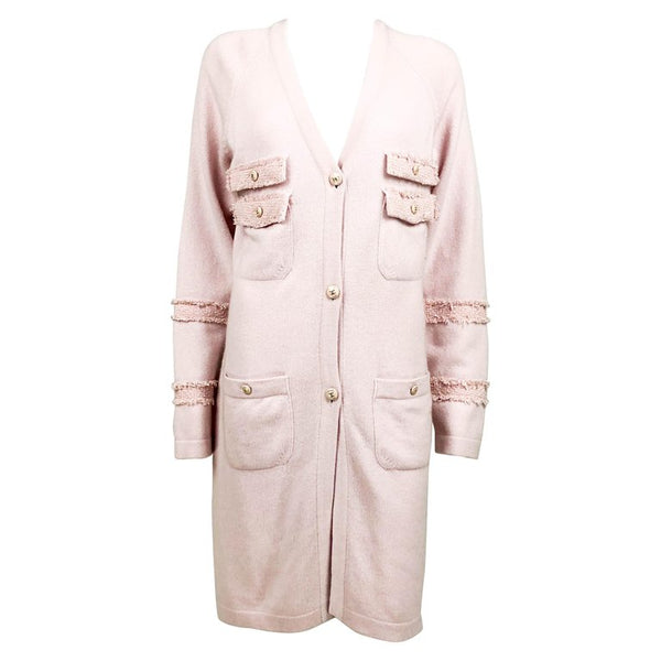 Chanel Pink Cashmere Cardigan Dress with Enamelled Logo Buttons - 2009