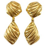 Yves Saint Laurent Gold-Plated Ribbed Dangling Earrings - 1980's