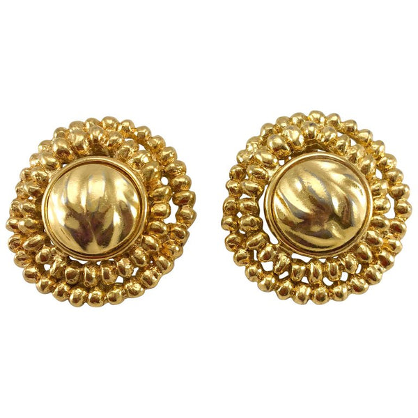 Yves Saint Laurent Gold-Plated Round Clip-On Earrings - 1980's